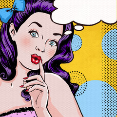 Pop Art illustration of girl with speech bubble.