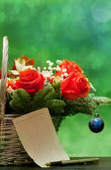 bouquet with a note