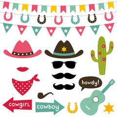 Cowboy design elements set