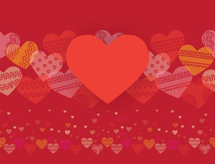 horizontal seamless texture with hearts