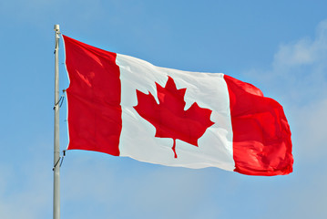 Poster de jardin Canada Canada Flag Flying on pole