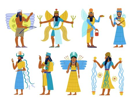 A set of ancient Babylonian gods and goddesses