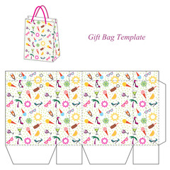 Bag template with seamless summer pattern