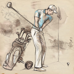 Golf Player - An hand drawn and painted illustration