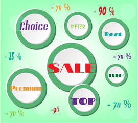 Advertising label with white circles with text - sale, premium,