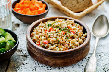 barley porridge with meat and vegetables