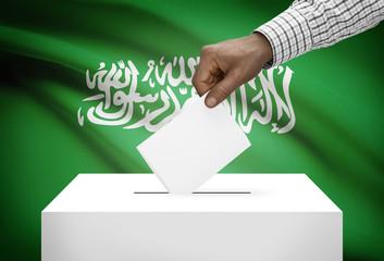 Ballot box with national flag on background - Saudi Arabia
