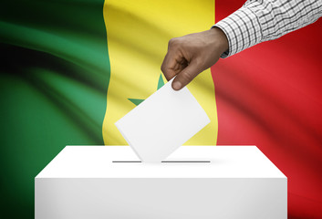 Ballot box with national flag on background - Senegal
