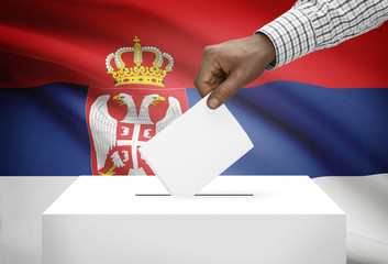 Ballot box with national flag on background - Serbia