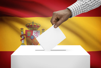 Ballot box with national flag on background - Spain