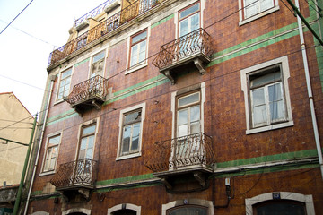 The exterior of a traditional portuguese townhouse