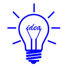 "blue bulb on a white background with a word ""idea"""