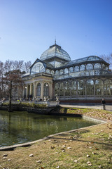 Garden, Crystal Palace in the Retiro park Madrid, Spain
