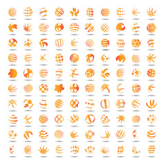 Sphere Icons Set - Isolated On White Background