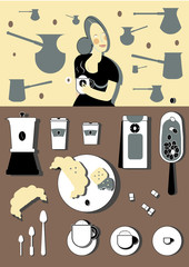 Coffee tools and smiling girl on a background