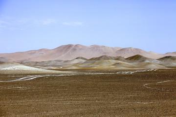 Riserva di Paracas, il deserto in Perù. Colorato.