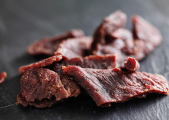 pile of beef jerky shot with selective focus