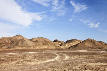 Riserva di Paracas, il deserto in Perù. Panorama irreale