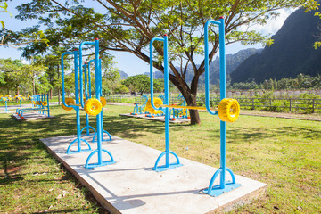 beautiful modern fitness equipment outdoors