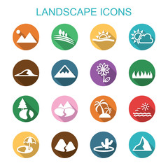 landscape long shadow icons