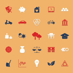 Sufficient economy flat icons with shadow