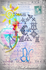 In de dag Imagination Graffiti and chemical symbols background