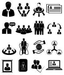 management people icons set