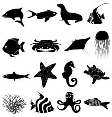 Sea life icons set