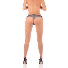 Sexy butt ass girls in silver underwear isolated on white
