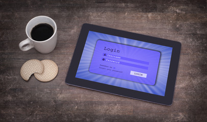 Login interface on tablet - username and password