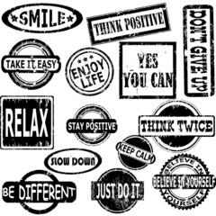 Rubber stamps with motivation and positive thinking messages