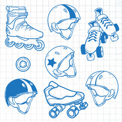 set_of_roller_skates_helmets_wheel