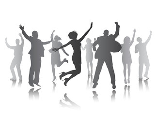 Group of People Celebrating Team Success Vector Concept