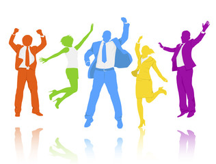 Group Business People Successful Cheerful Happiness Concept