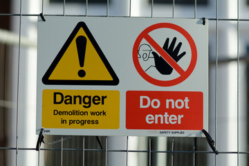 Construction site health and safety signs - danger