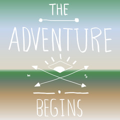 Vector The Adventure Begins Quote Blurred Background Concept
