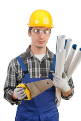 young worker with a handsaw