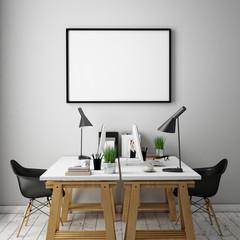 Poster frame template, workspace mock up, background