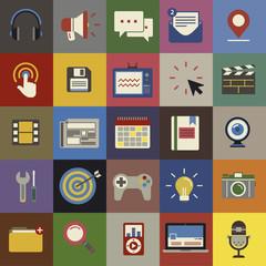Social Media Funky Internet Symbols Icons Vector Concept