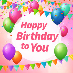 happy birthday greeting card with balloons and flags.