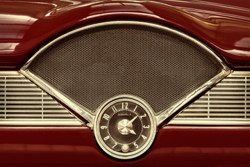 Clock inside a classic fifties car