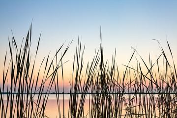 Sundown view of the Sneekermeer, The Netherlands
