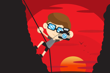 photographer and climbing cartoon design