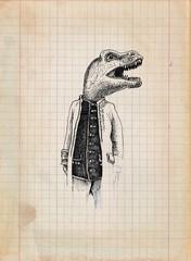 vintage paper with dinosaur gentleman