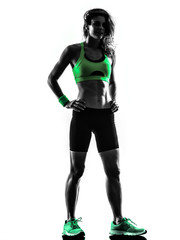 Wall Mural - woman fitness exercises standing silhouette