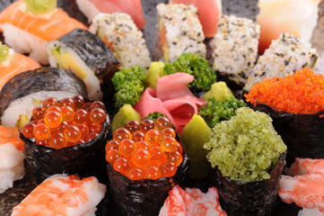 Salmon eggs sushi with assorted sushi platter