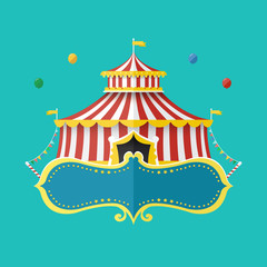 Classical Circus tent with banner for text, Vector illustration