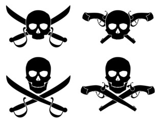 Vector Silhouette of Jolly Roger with crossed saber and pistol