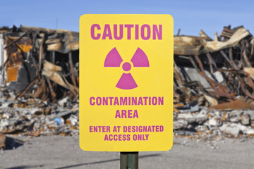 Contamination Area Warning Sign with Ruin