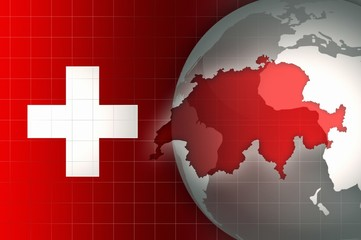 Switzerland Map and Flag on a world globe news background